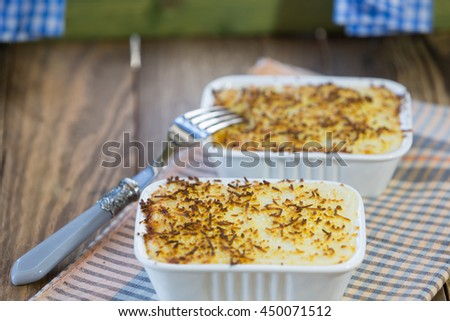 Delicious meat cannelloni with melted cheese - stock photo