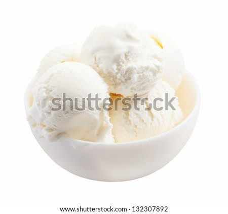 delicious melted ice cream scoops in bowl close-up isolated on white background
