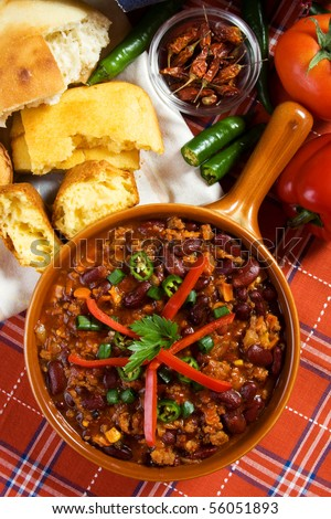 Delicious mexican chili with kidney bean and ground beef - stock photo