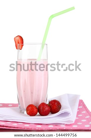 Delicious milk shake with strawberries isolated on white
