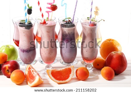 Delicious milkshakes, close-up - stock photo