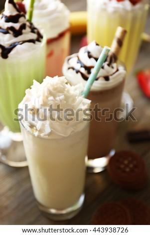Delicious milkshakes, closeup - stock photo