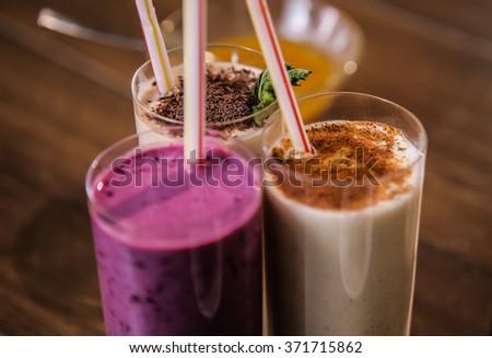 Delicious milkshakes nutritious protein for breakfast - stock photo
