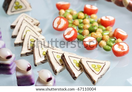 Delicious modern and decorated finger food