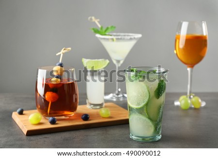 Delicious mojito on gray table