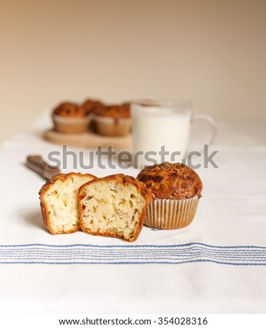 Delicious muffins on table
