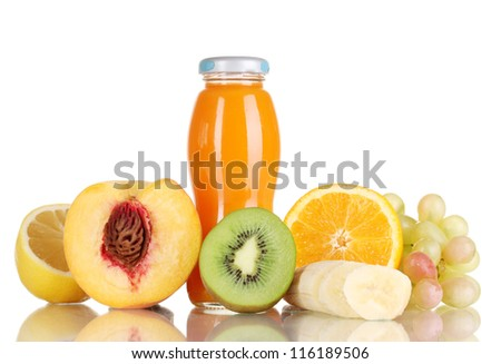 Delicious multifruit juice in a bottle and fruit next to it isolated on white - stock photo