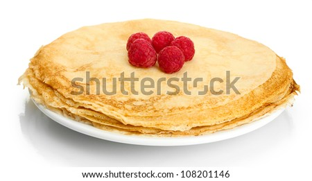 Delicious pancakes with raspberries on plate isolated on white