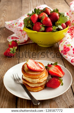 Delicious pancakes with strawberry - stock photo