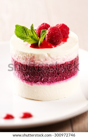 Delicious Panna Cotta with fresh berries. - stock photo