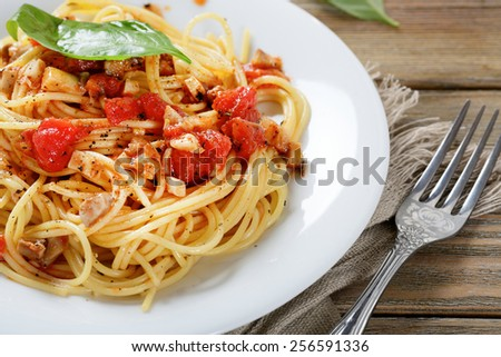 Delicious pasta with tomato sauce. Traditional italian food - stock photo