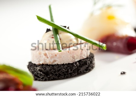Delicious Pate Canapes with Onions - stock photo