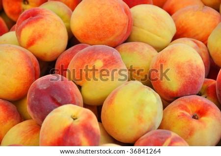 Delicious Peaches - Closeup - stock photo