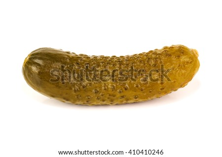 delicious pickle on white background - stock photo