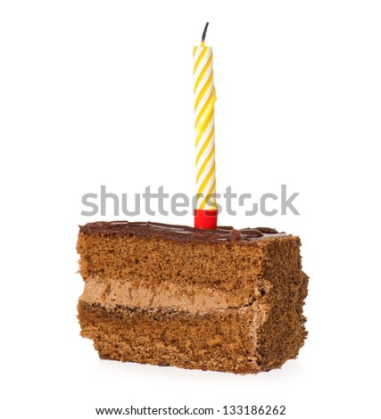 Delicious piece of chocolate cake with candle, isolated on white background - stock photo