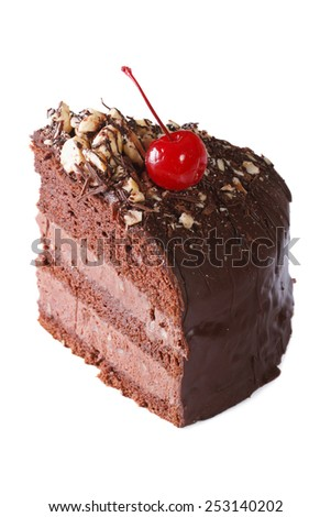 delicious piece of dark chocolate cake with cherry closeup. isolated on white background  - stock photo