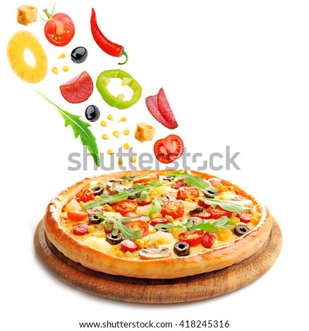 Delicious pizza and falling ingredients, isolated on white