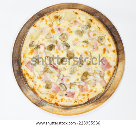 Delicious pizza ham with mushroom on white background, top view - stock photo
