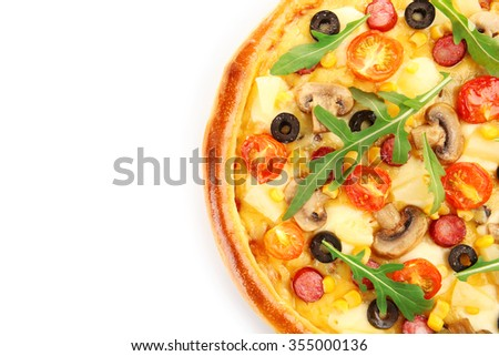 Delicious pizza, isolated on white - stock photo