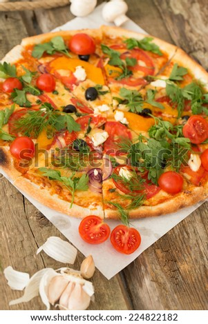 Delicious pizza on the table