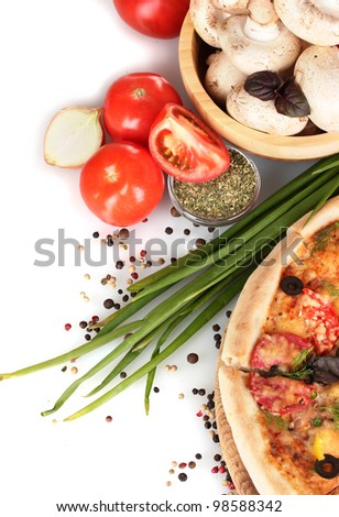 delicious pizza, vegetables, spices and oil isolated on white - stock photo