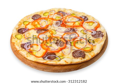 Delicious pizza with fresh onions, pickles, peppers and carpaccio - thin pastry crust at wooden round desk, isolated at white background - stock photo