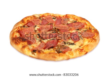 Delicious pizza with ham, salami and mozzarella isolated on white background