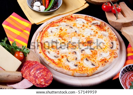 Delicious Pizza with Moshrooms - stock photo