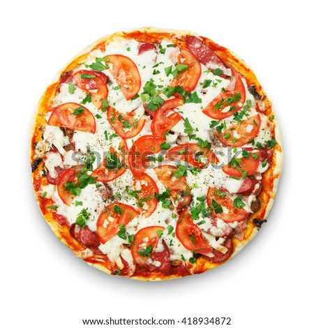 Delicious pizza with mushrooms and smoked chicken meat - thin pastry crust isolated at white background. Top view - stock photo