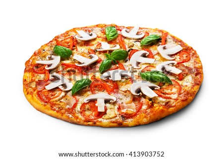 Delicious pizza with mushrooms, peppers and bacon - thin pastry crust isolated at white background. Italian food. Pizza isolated.  - stock photo