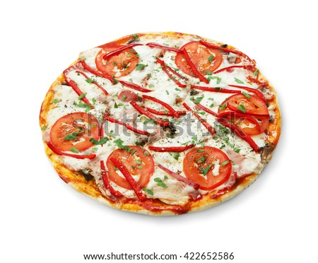 Delicious pizza with mushrooms, peppers and ham - thin pastry crust isolated at white background. Italian food. Top view - stock photo