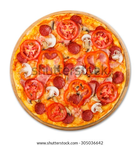 Delicious pizza with mushrooms, peppers and pepperoni - thin pastry crust at wooden round desk isolated at white background, above view - stock photo