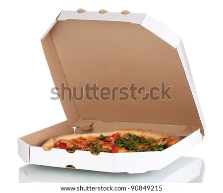 delicious pizza with sausage and vegetables in the package isolated on white - stock photo