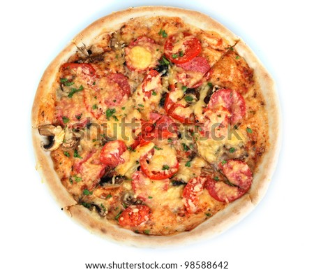 delicious pizza with sausage and vegetables isolated on white - stock photo