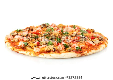 Delicious pizza with seafood  isolated on white - stock photo