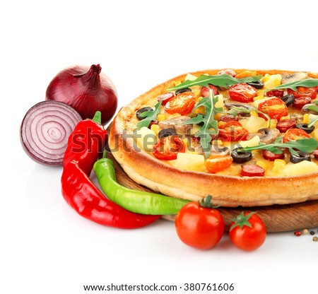 Delicious pizza with vegetables, isolated on white - stock photo