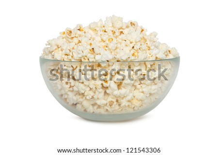 Delicious popcorn in bowl over white background - stock photo