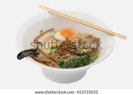 Delicious ramen Japanese food on white background
