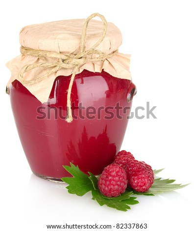 delicious  raspberry  jam in the pot isolated on white - stock photo