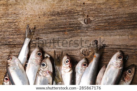 Delicious, raw fish on the wooden table - stock photo