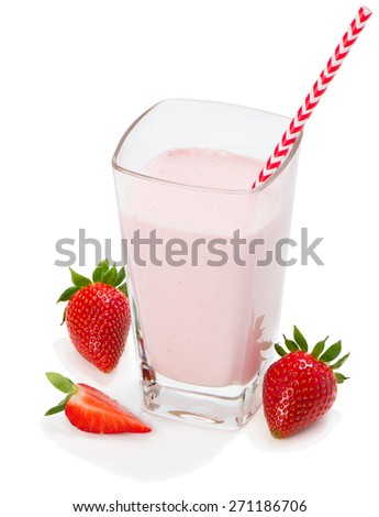 Delicious refreshing cold strawberry milkshake with fresh strawberries and served in a tall glass with straw isolated on white background. - stock photo