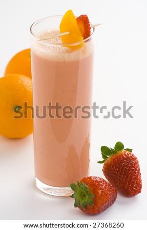 delicious refreshing strawberry orange banana milkshake natural isolated - stock photo