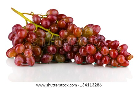 Delicious ripe grapes isolated on white - stock photo