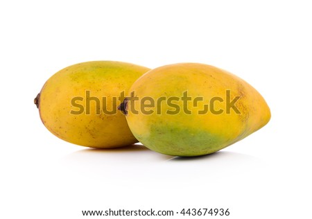 Delicious ripe mango with  on white background.