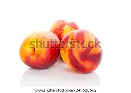 Delicious ripe peaches isolated on white background. Healthy fruit eating.  - stock photo