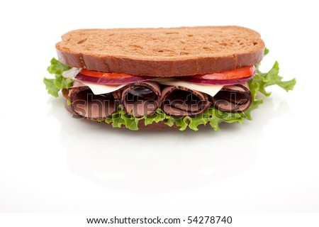 Delicious roast beef sandwich with rye bread on white background