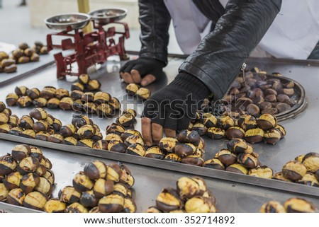 Delicious roasted chestnuts at Istanbul street. - stock photo