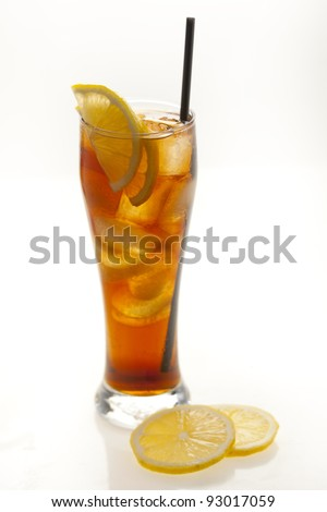Delicious Rooibos Herbal Iced tea in a long glass, on white background.