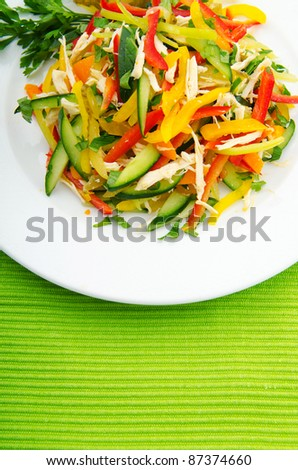 Delicious salad in the plate - stock photo