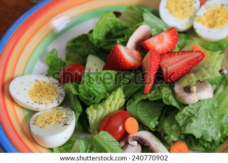 Delicious salad on colorful plate, filled with the goodness of hard boiled eggs,strawberries,green lettuce,mushrooms and tomatoes.  - stock photo